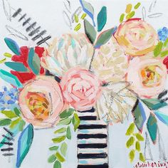 Floral painting - C. Brooke Ring - flower painting - peony painting with striped vase - pink peony painting - colorful floral artwork
