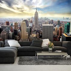 Giant size wallpaper mural for bedroom and living rooms. New York blue skyline wall mural ideas. Express and worldwide shipping. Free UK delivery.