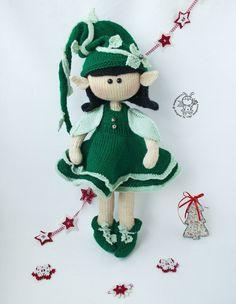 Elf doll knitted flat Knitting pattern by Simplytoys13 Knitted Dolls, Crochet Dolls, Crocheted Toys, Crochet Doll Pattern, Crochet Patterns, Yarn Trees, Knitted Teddy Bear, Boucle Yarn, Elfa