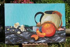 Afternoon Tea 18 x 28 original modern by EarthenStyles on Etsy
