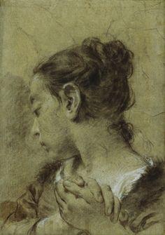 Drawing Unique Girl in Contemplation - Giovanni Battista Piazzetta - circa Giovanni, Portrait Drawing, Old Master, Drawing Illustrations, Master Drawing, Nature Drawing, Drawing Sketches, Portrait, Portrait Art