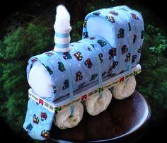 Train Themed Diaper Cake www.facebook.com/DiaperCakesbyDiana
