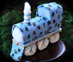 Train Themed Diaper Cake www.facebook.com/DiaperCakesbyDiana