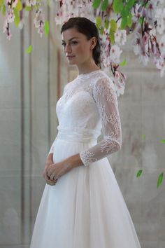 Long sleeves Lace wedding dress white lace bridal by Foreverus999