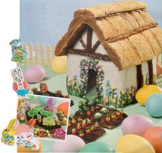 Peter Rabbit - thatched roof using shredded wheat. Graham Cracker Gingerbread House, Gingerbread House Parties, Gingerbread Village, Gingerbread Decorations, Christmas Gingerbread, Gingerbread Cookies, Cookie House, House Cake, Gingerbread House Designs