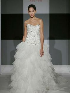 Strapless Princess/Ball Gown Wedding Dress with Dropped Waist in Beaded Embroidery.   Bridal Gown Style Number:32448748