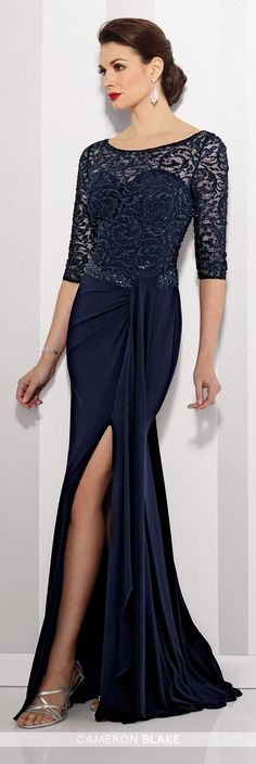 Cameron Blake - 216695 - Jersey sheath with hand-beaded and lace illusion three-quarter length sleeves and bateau neckline over a sweetheart bodice, beaded asymmetrical waistline, lace illusion back, side draped skirt with side slit, sweep train.Sizes: 4 - 20Colors: Navy Blue, Claret