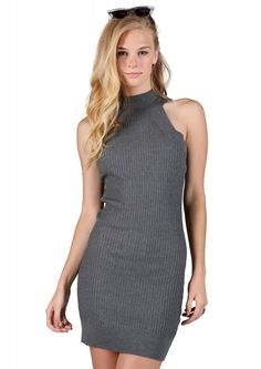 Melissa Ribbed Sweater Dress in Grey | Necessary Clothing