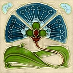 art nouveau tile designs | art_nouveau_fan_flower_tile_coaster.jpg?height=460&width=460 ...