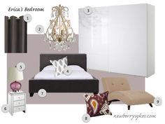 Purple and Grey Bedroom Mood Board