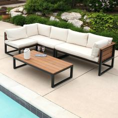 Create a new living space on any patio or deck with this all-weather conversation set. Set includes coffee table, deep-seated chair and two sofas with cushions that provide luxury seating for enjoyable conversation. Welded Furniture, Industrial Design Furniture, Iron Furniture, Pallet Furniture, Rustic Furniture, Home Furniture, Furniture Design, Furniture Ideas, Smart Furniture