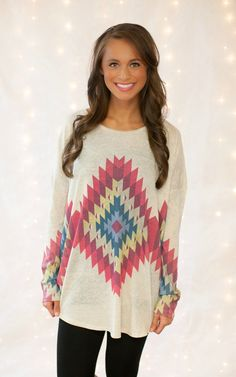 The Pink Lily Boutique - Oatmeal Aztec Backroad Blouse, $35.00 (http://thepinklilyboutique.com/oatmeal-aztec-backroad-blouse/)