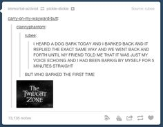 XD the twilight zone is from a ride in disny land called the tower of terror. i've been on it at least four or five times. it's super fun! Funny Quotes, Funny Memes, Jokes, Memes Humor, Funny Pins, Funny Stuff, Random Stuff, Lol, Funny Tumblr Posts