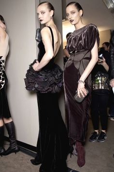 velvet fabrics backstage at bottega veneta