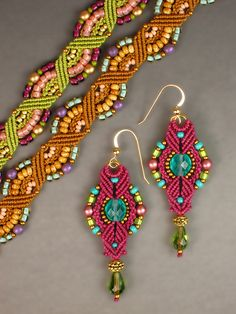 Micro-Macramé Rainbow Bracelet and Lantern Earrings