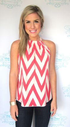 Coral Chevron Top. Love!!!! Not sure I could wear this without a bra or I don't know if mine would fit in a strapless one!! LOL