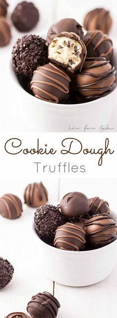 Cookie Dough Truffles - Perfectly poppable bites of cookie dough dipped in chocolate. Eggless and no bake. | livforcake.com