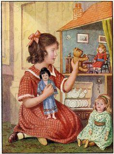 Little Girland Her Darling DOLLHOUSE!  Vintage Dollhouse Illustration. Vintage Digital Printable Image. Dollhouse Digital Download.