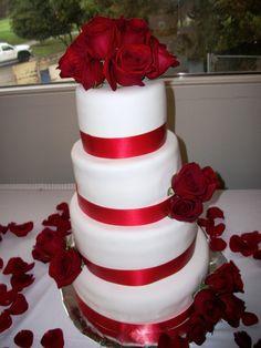 Red Rose Wedding Cake cakepins.com