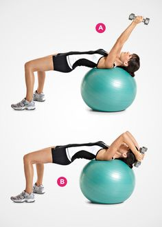TRICEPS: Swiss-Ball Lying Triceps Extension The benefit: Lying on a Swiss ball forces your core to work harder to keep you stable. So you work your abs as you shape the backs of your arms.
