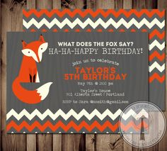 What Does the Fox Say Invitation fox birthday by T3DesignsCo, $12.99