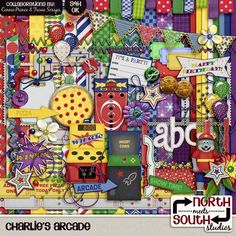 Charlies Arcade Digital Scrapbooking Collab Kit Pizza Party - Full of bright colors, fun elements and everyone's favorite pizza-making mouse, this collection is perfect for scrapping all your photos from Charlie's Arcade - where a kid can be a kid!! Perfect for birthdays, parties, and just general arcade and coin ride fun!