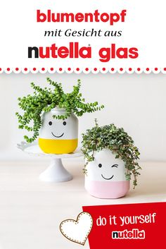 Flowerpot with face made of nutella glass What can you do with empty nutella glasses . - Flower pot with face made of nutella glass What can you do with empty nutella glasses? This image h - Flower Pot Crafts, Flower Pots, Diy Nutella, Fleurs Diy, Diy Crafts To Do, Decoration Bedroom, Glass Design, Diy For Kids, Christmas Diy