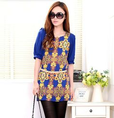 New 2014 Spring Summer Fashion Chiffon Blouses Shirts Half Sleeve O-Neck Print Women Shirt Four Colors M L XL XXL US $9.90
