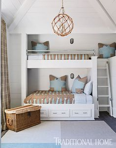 """Bunk Room - Bed Lighting. Hanging light is """"Rope Net Glass Sphere Chandelier"""" from Shades of Light."""