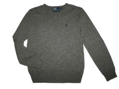 Men Polo Ralph Lauren Gray Wool V Neck Sweater Size M #PolobyRalphLauren #VNeck