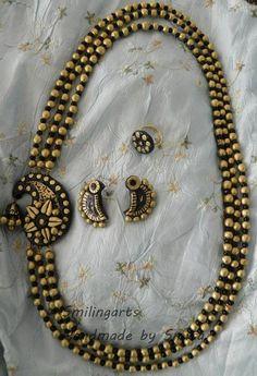 Items similar to Terracotta set on Etsy Beaded Necklace Patterns, Beaded Jewelry, Handmade Jewelry, Silk Thread Bangles, Thread Jewellery, Funky Jewelry, Simple Jewelry, Polymer Clay Jewelry, Clay Earrings