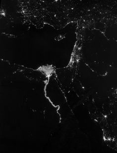 On Oct. 13, 2012, the Visible Infrared Imaging Radiometer Suite (VIIRS) on the Suomi NPP satellite captured this nighttime view of the Nile River Valley and Delta.  Credit: NASA Earth Observatory/Suomi NPP