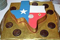 Texas shape Groom's cake with the Texas flag, and dark chocolate Army military coins