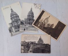 4 cartes postale antique Paris church postcards  by MaxAndCoPost, $8.00