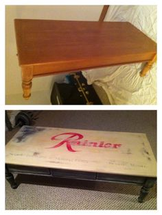 """Oak table turned into """"old"""" Rainier Beer sign.  SOLD $195"""
