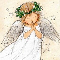 Leading Illustration & Publishing Agency based in London, New York & Marbella. Christmas Drawing, Christmas Paintings, Christmas Angels, Christmas Art, Engel Illustration, Angel Drawing, I Believe In Angels, Angel Pictures, Theme Noel