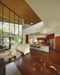 Gorgeous Living Room1 Creative Architectural Principles Neatly Displayed: Gap Residence in Brisbane