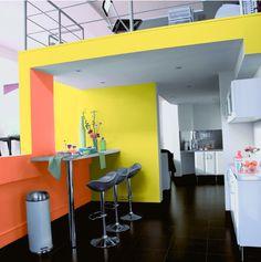 Peinture la cuisine jaune sur pinterest couleurs de peinture de cuisine couleurs de for Peinture blanc orange salon