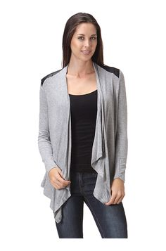Draped Open Front Cardigan W/ Faux Leather Trim – BodiLove Fashion Store