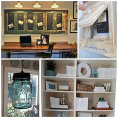 Old french door -chalkboard and shelves