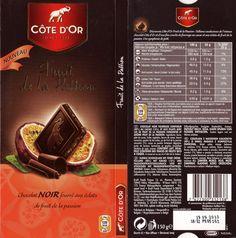tablette de chocolat noir fourré côte d'or noir fruits passion