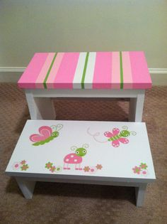 Items similar to Child/Toddler Step Stool on Etsy Hand Painted Furniture, Funky Furniture, Paint Furniture, Kids Furniture, Kids Stool, Child Step Stool, Step Stools, Painted Stools, Painting For Kids