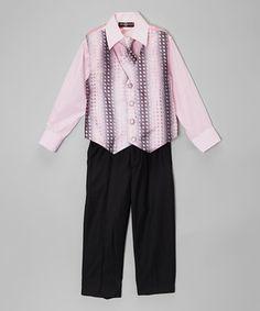 Loving this Pink Jacquard Four-Piece Vest Set - Toddler & Boys on #zulily! #zulilyfinds