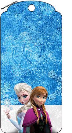 Tag Agradecimento Frozen Azul e Branco: