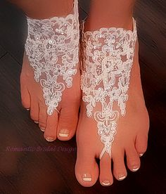 Simply magnificent, glamorous for those Brides with an exquisite taste.  You will receive one Off White PAIR of Barefoot Sandals. Made out of Organza Lace and Embroidered Applique adorned with Sequins and Rhinestones!   Unique design, it has a Vintage, Victorian Shabby Chic feel to them but are also modern in style!  Why not pair them with my matching Finger-less Gloves?  Combining our bridal accessories can give you that special look for that special day. Wedding fashions from Romantic…