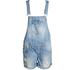 ONLY Overall Shorts (155 BRL) ❤ liked on Polyvore featuring shorts, overalls, jumpsuit, pants, medium blue denim and short overalls