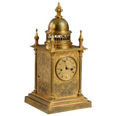 Elizabethan Revival Mantel Clock, circa 1840 | From a unique collection of antique and modern clocks at https://www.1stdibs.com/furniture/decorative-objects/clocks/