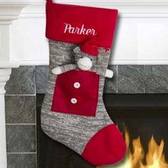 Grey Sock Monkey What child wouldn't love to get this stocking for filled with their favourite things? Make this a personalized gift by embroidering a name on the stocking cuff. Christmas Projects, Holiday Crafts, Christmas Stuff, Christmas Ideas, Sock Monkey Nursery, Christmas 2014, Merry Christmas, Christmas Stockings, Christmas Ornaments