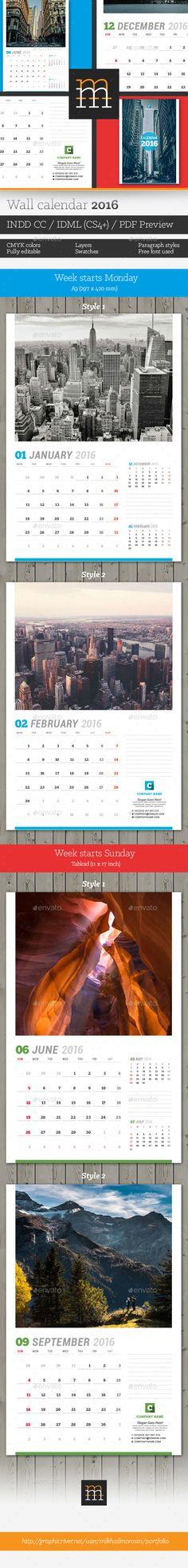 Wall Calendar 2019 | Calendar 2018, Template and Calendar design