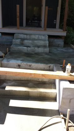 The building of the new front steps for the new porch.